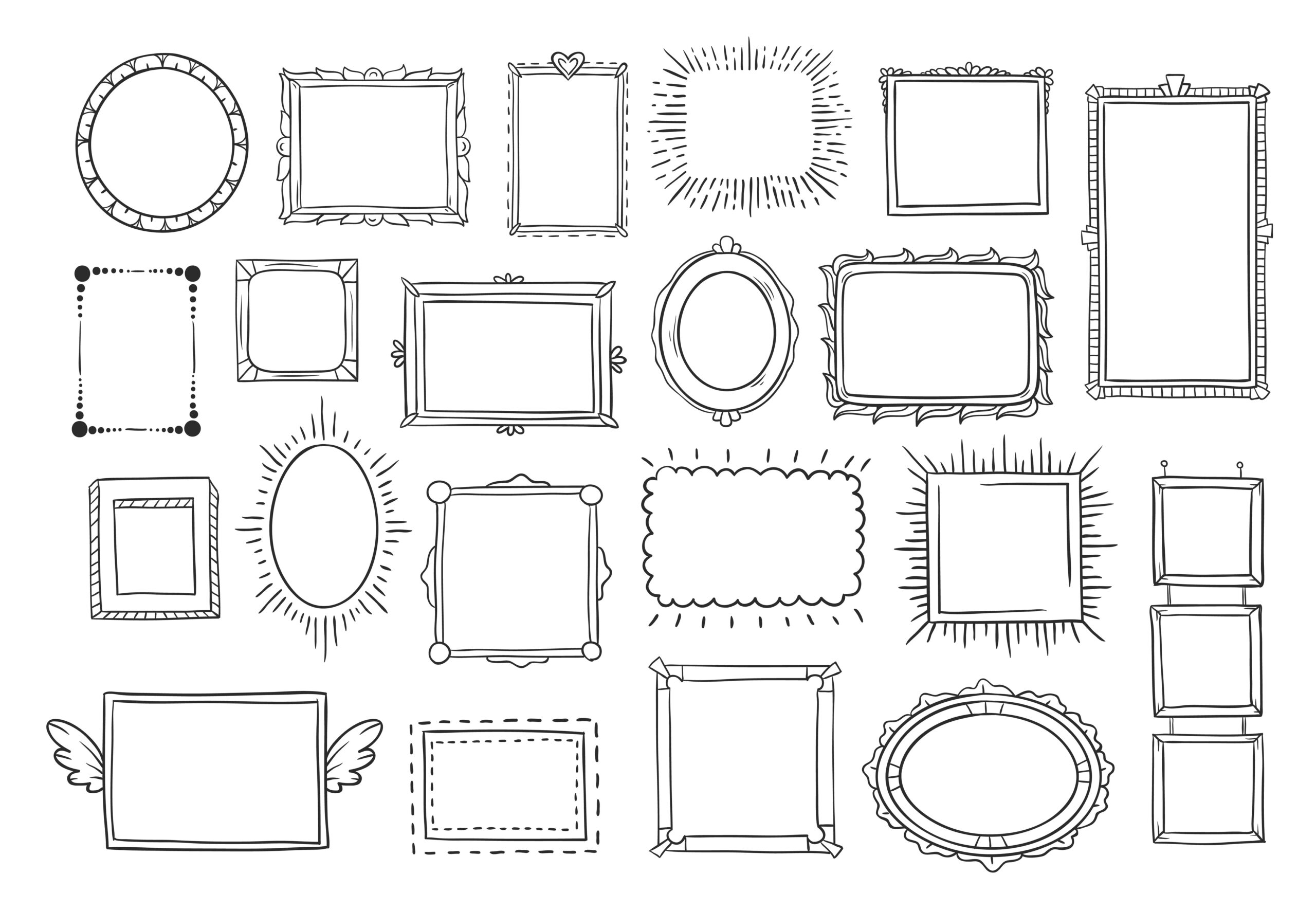 Hand drawn frames. Vintage doodle sketch picture frame doodle labels. Blank black square cadre rectangle label elegant sketches painted by hands scribble border vector isolated icon set